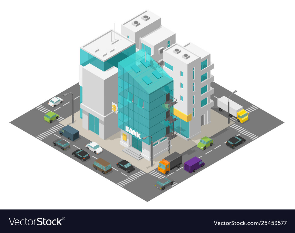 City street district quarter isometric town and