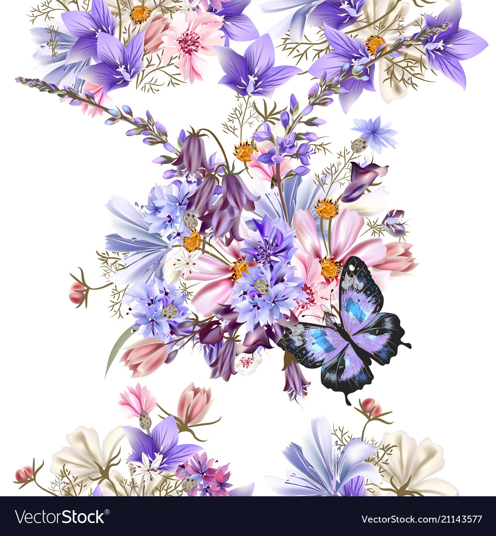 Floral seamless pattern with vintage flowers