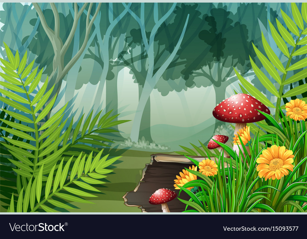 Forest Scene With Trees And Flowers Royalty Free Vector