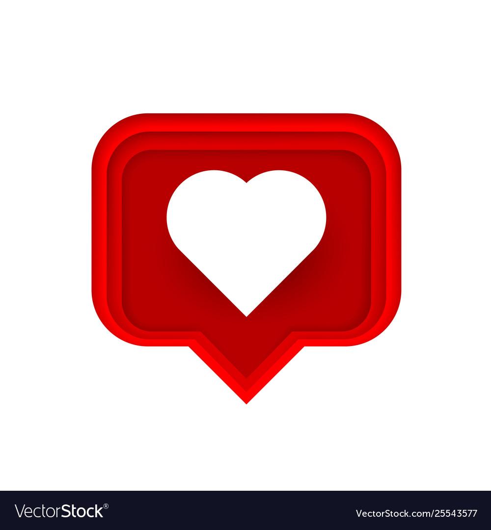 Frame heart like social network white background