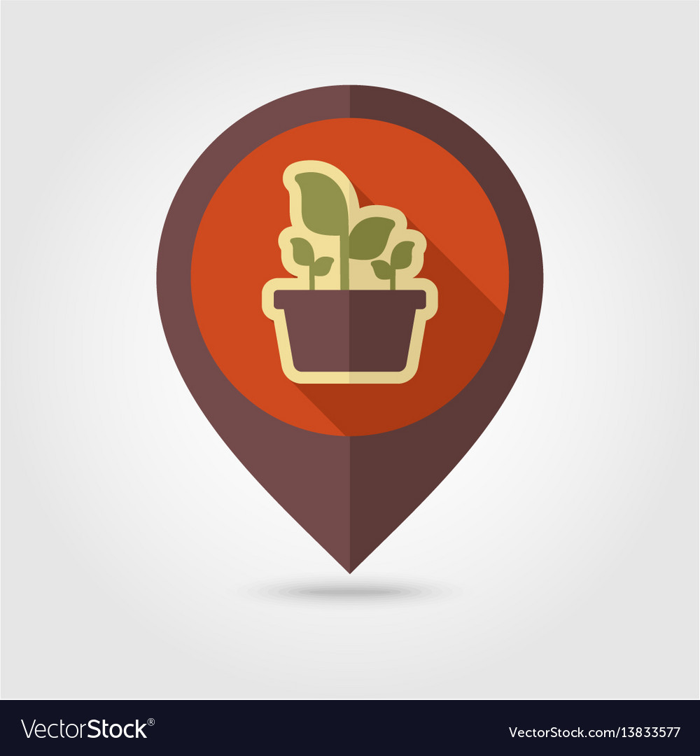 Plant in pot flat pin map icon garden flowerpot