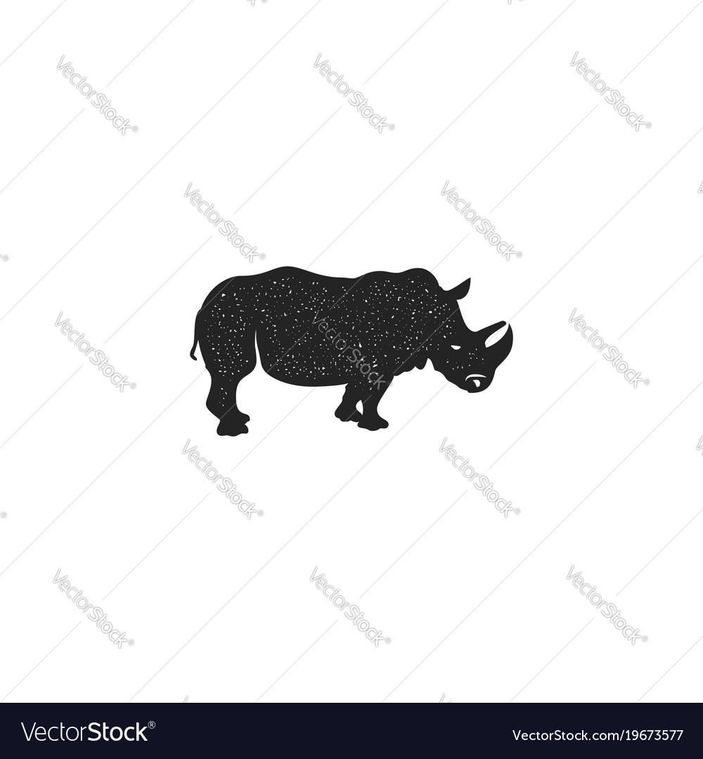 Rhino icon silhouette design wild animal symbol