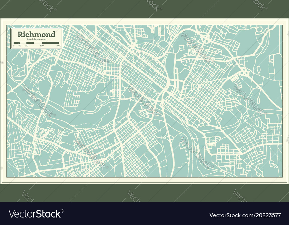 Richmond virginia usa city map in retro style on