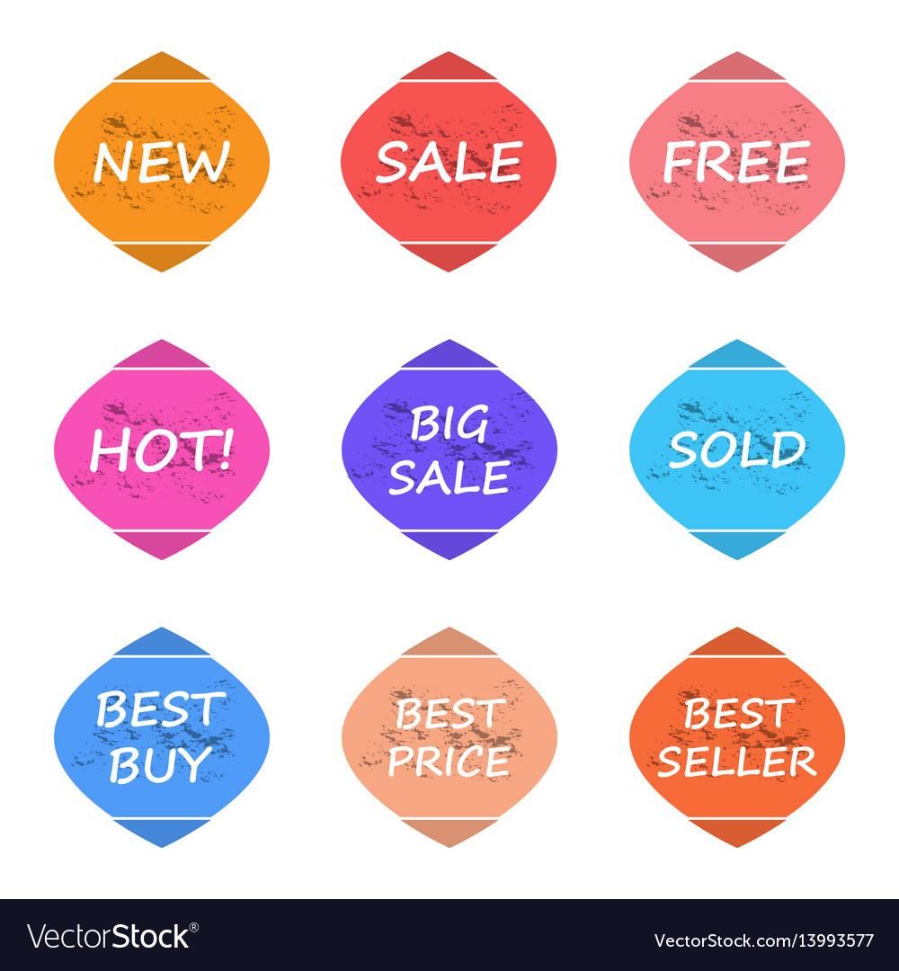 Sale and promotion sticker label grunge style set