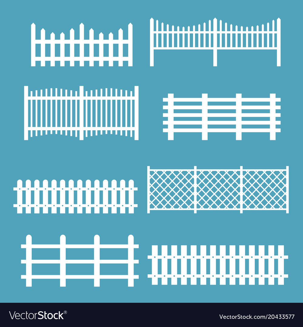 Set of different fences white vector image