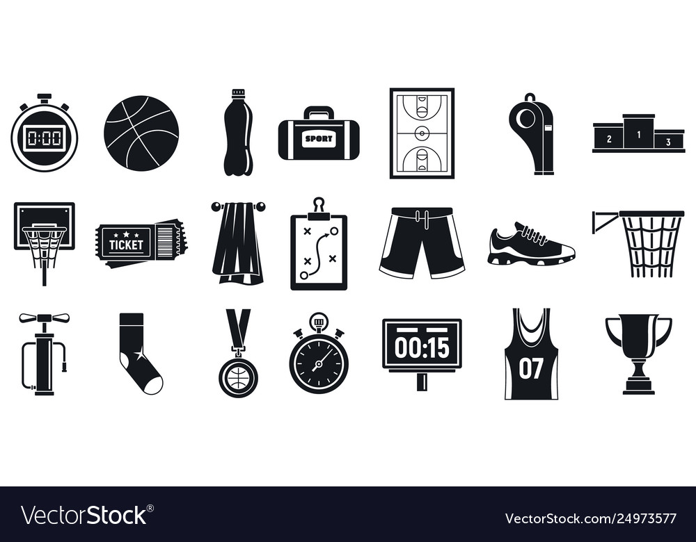 Sport basketball equipment icons set simple style