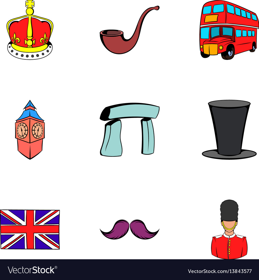 United Kingdom Icons Set Cartoon Style Royalty Free Vector