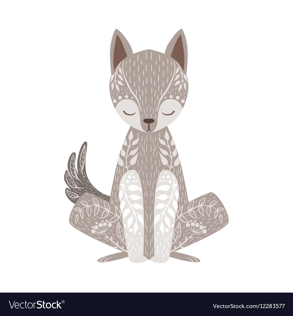 Wolf Relaxed Cartoon Wild Animal With Closed Eyes vector image