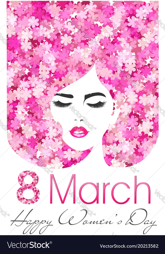 8 march happy women day poster with flowers