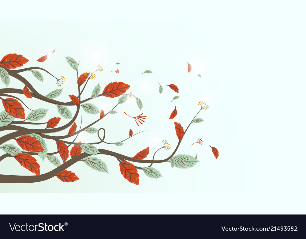 Autumn leaves branch background freehand drawing