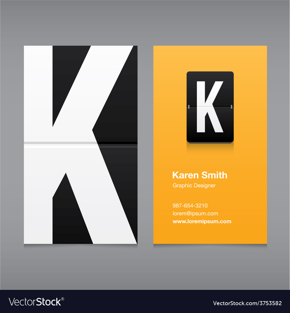 Business card letter K