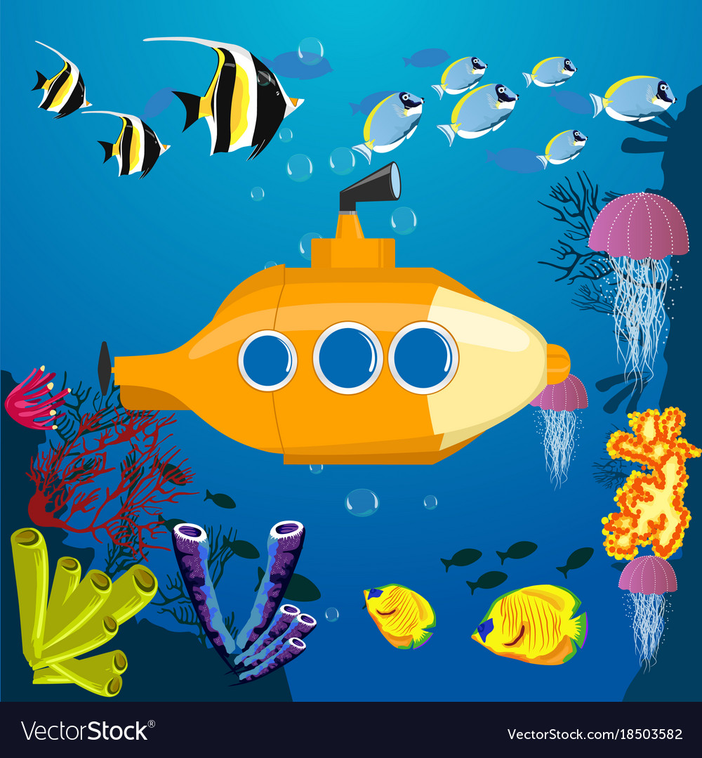 cartoon yellow submarine underwater royalty free vector