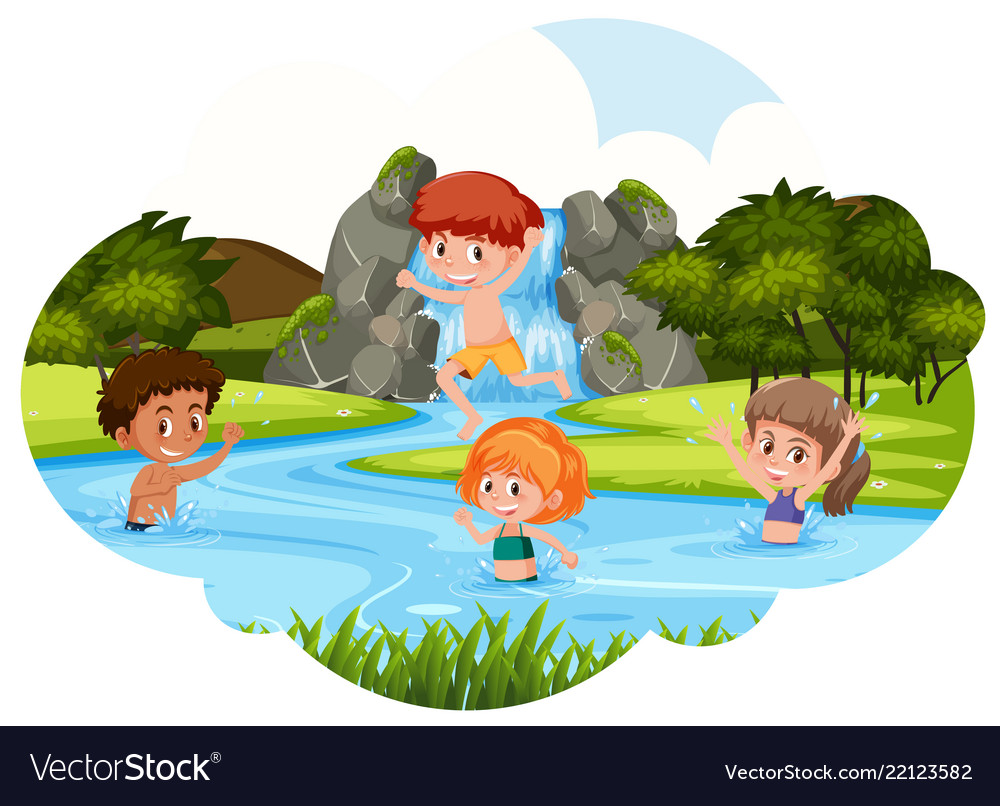 children playing in river royalty free vector image vectorstock