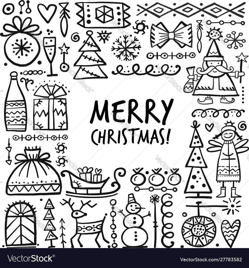 Christmas frame sketch for your design vector