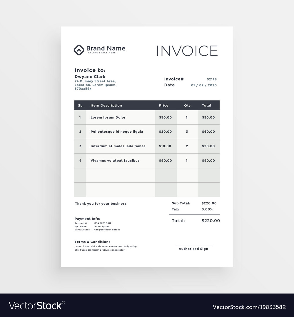 Clean Minimal Invoice Template Design Royalty Free Vector