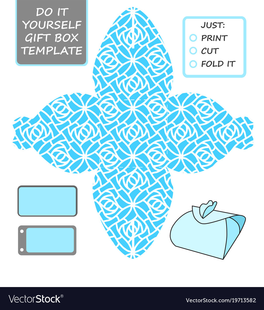 Cut Out Box Template For Birthday Gift Vector Image