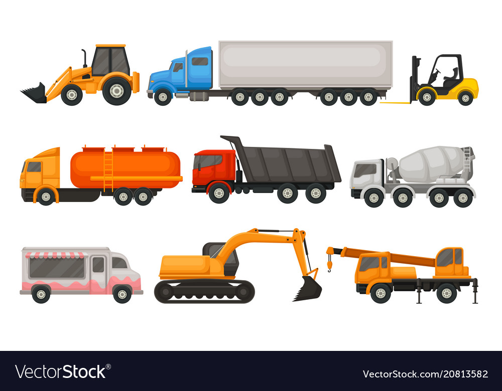 Flat set of various types of vehicles semi