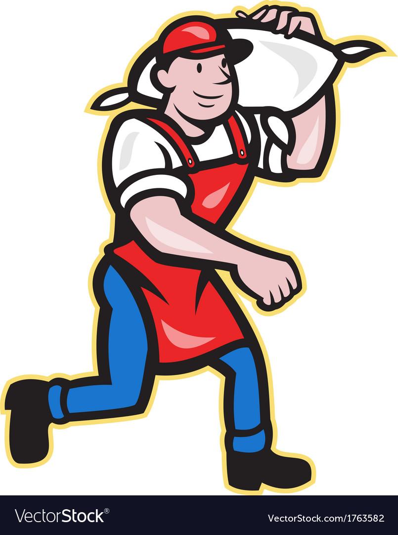 Flour Miller Carry Sack Walking Cartoon vector image