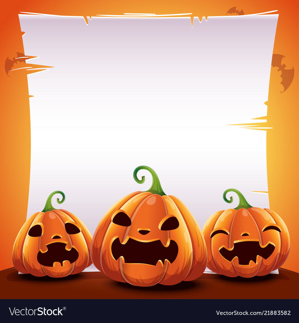 Halloween poster with realistic pumpkins on orange