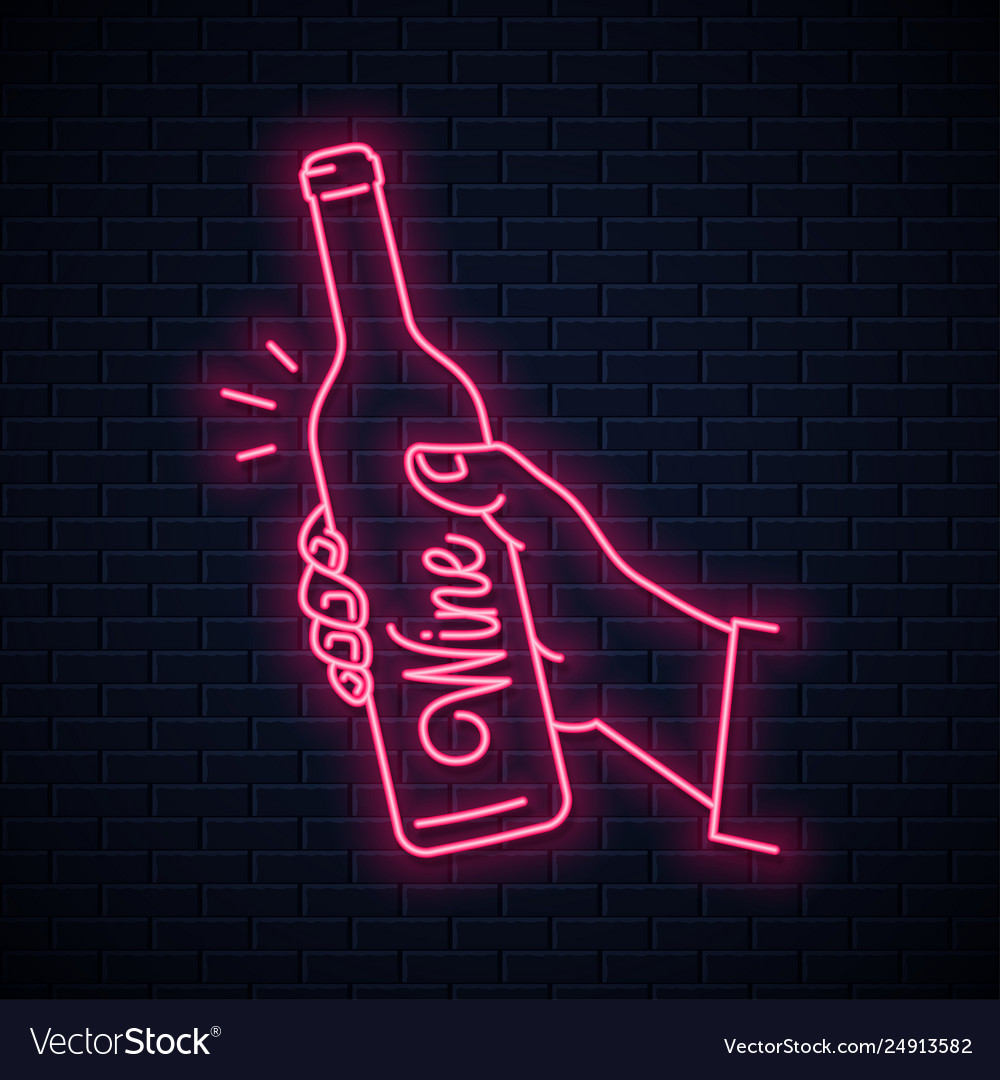 Hand hold wine bottle neon sign male hand holding
