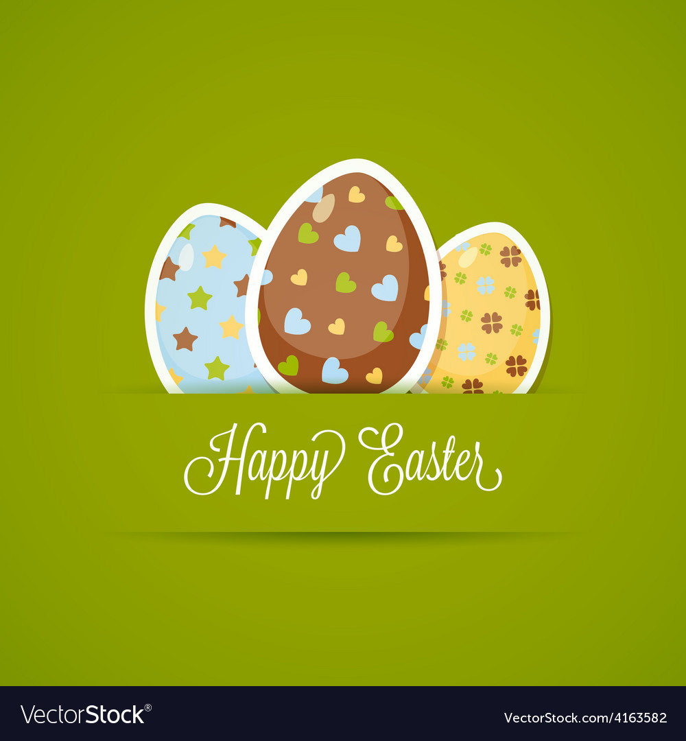 Happy easter card with cute eggs paper style