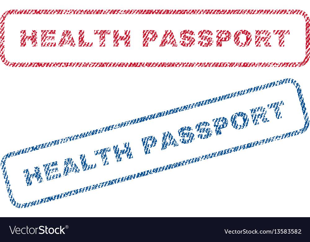 Health passport textile stamps vector image