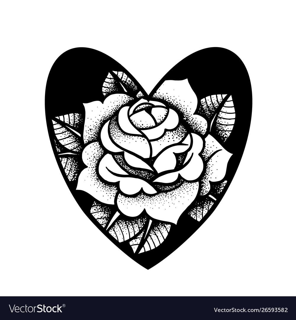 Old school rose tattoo traditional black dot
