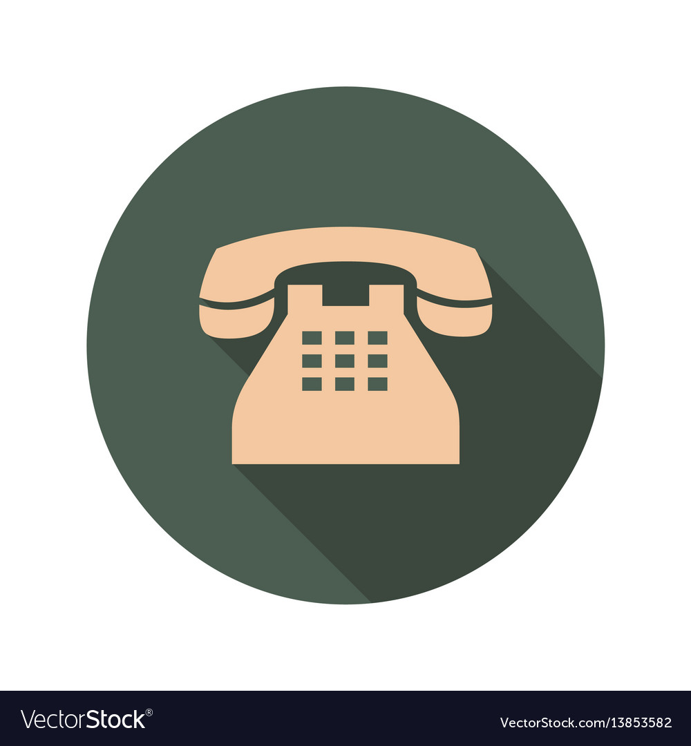 Retro phone icon with long shadows vector image