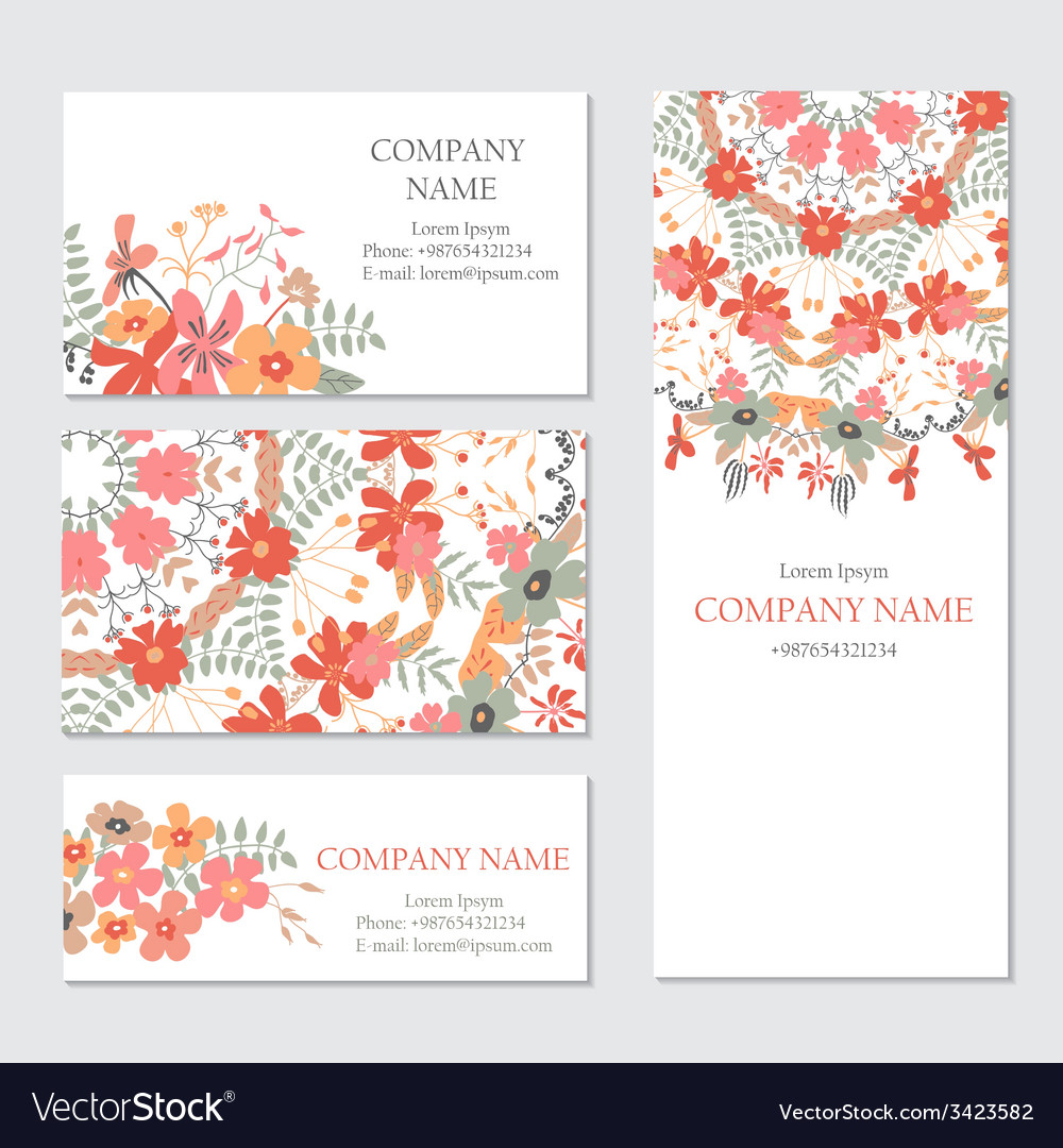 Set Of Business Or Invitation Cards Template