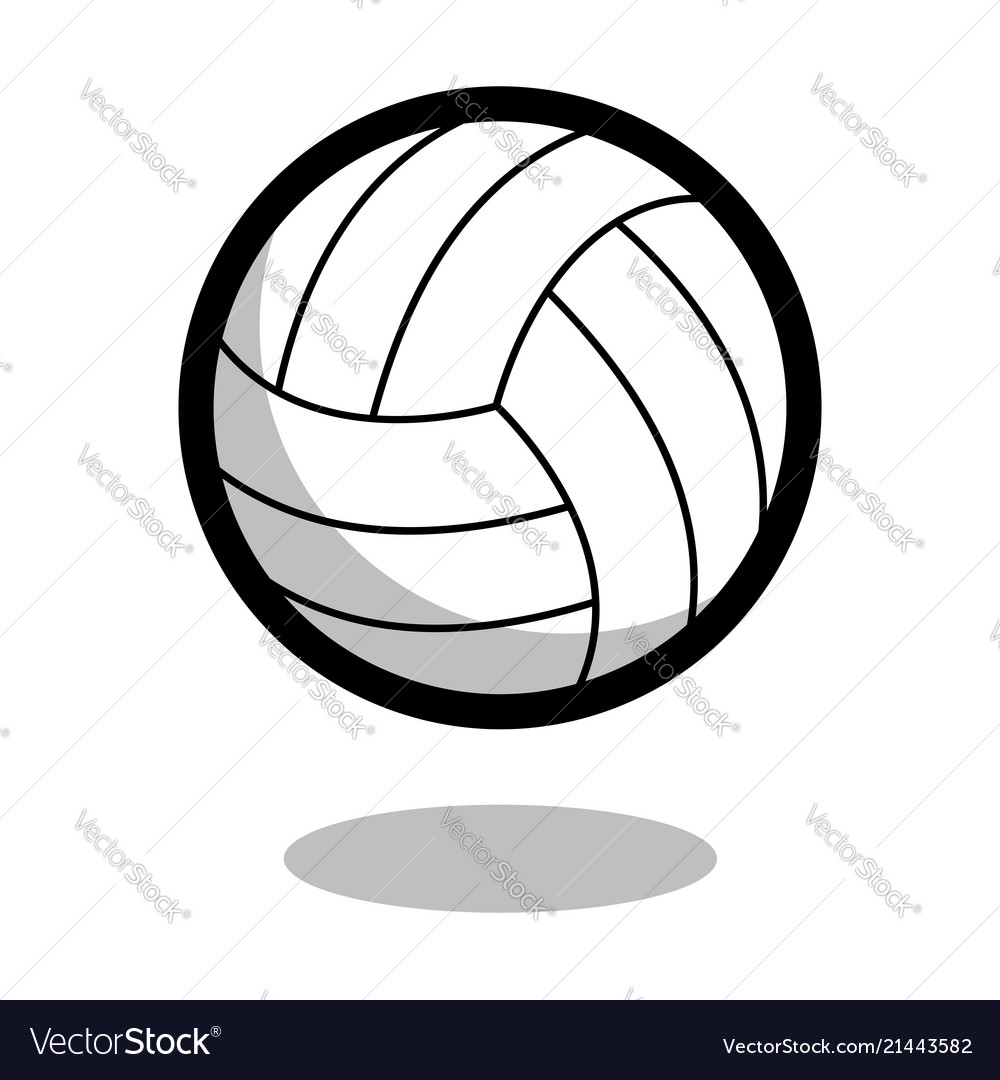 Volleyball sport ball logo line 3d icon