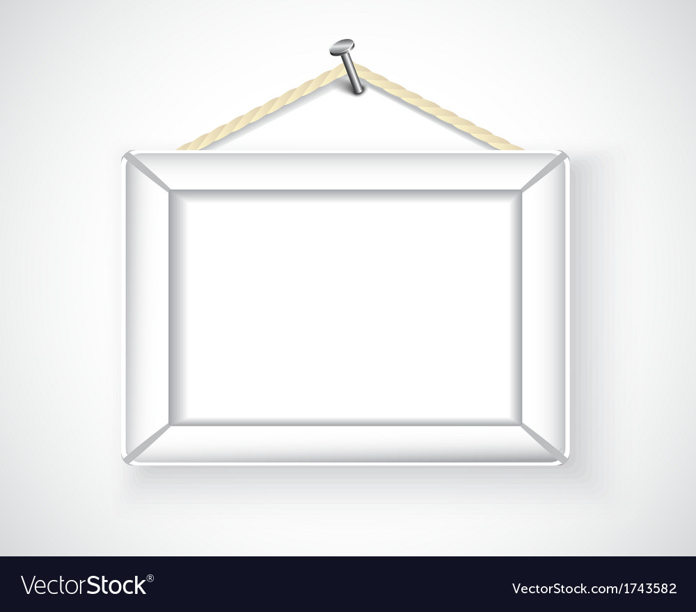 White picture frame hanging on the wall Royalty Free Vector