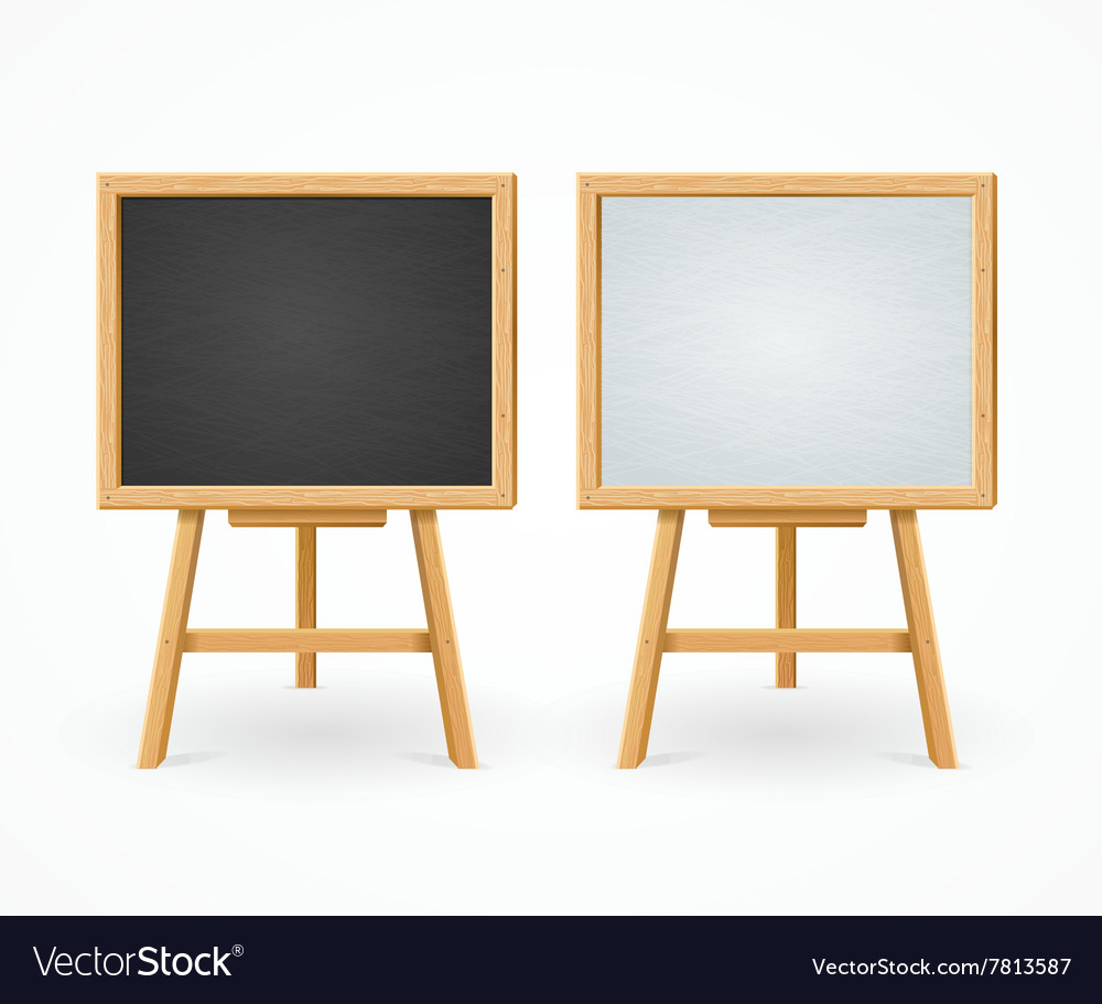 Black Board and White Set On Easel Front View