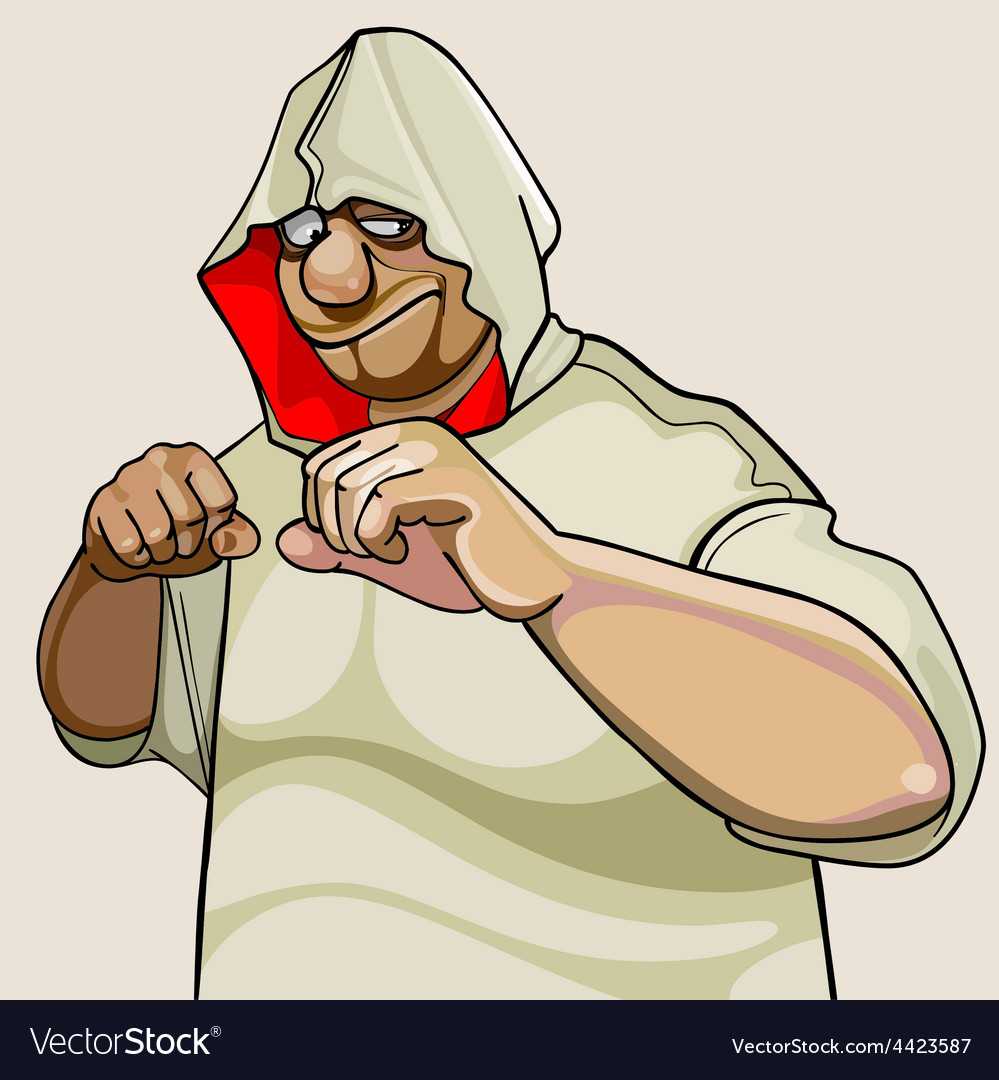 Cartoon character fighter man in the hood