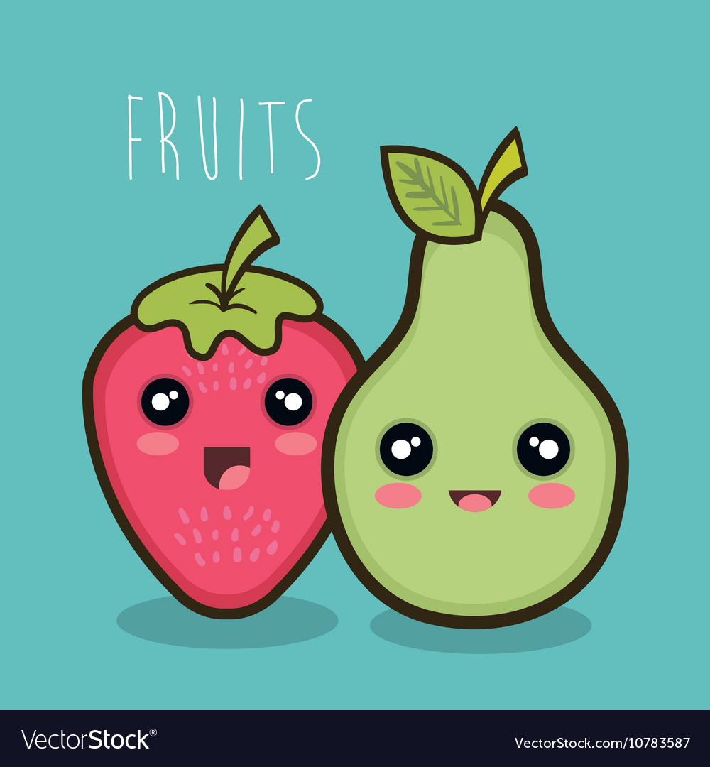 Cartoon strawberry pear emotions design