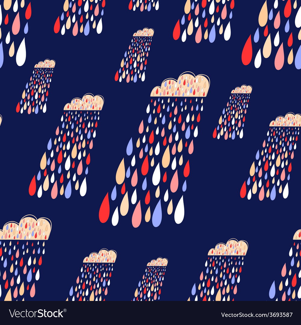 Cute seamless pattern with colorful rainy
