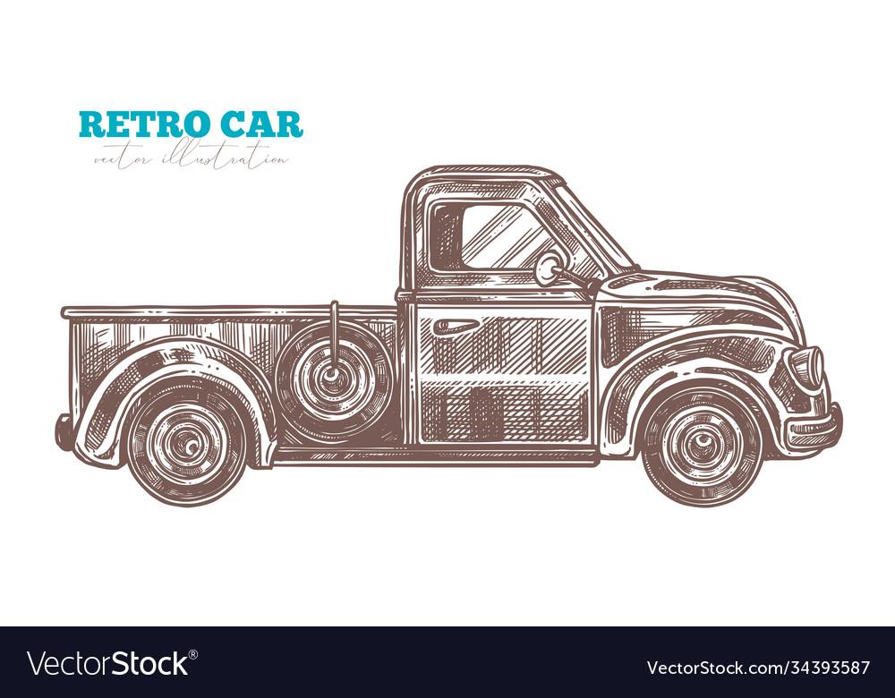 Engraved retro pickup truck