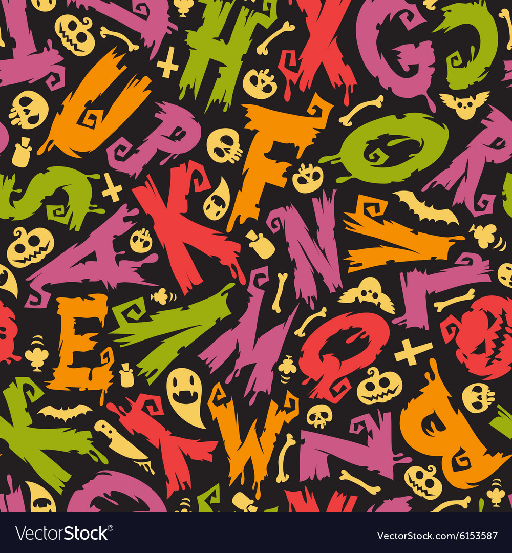Halloween Background With Colorful Letters