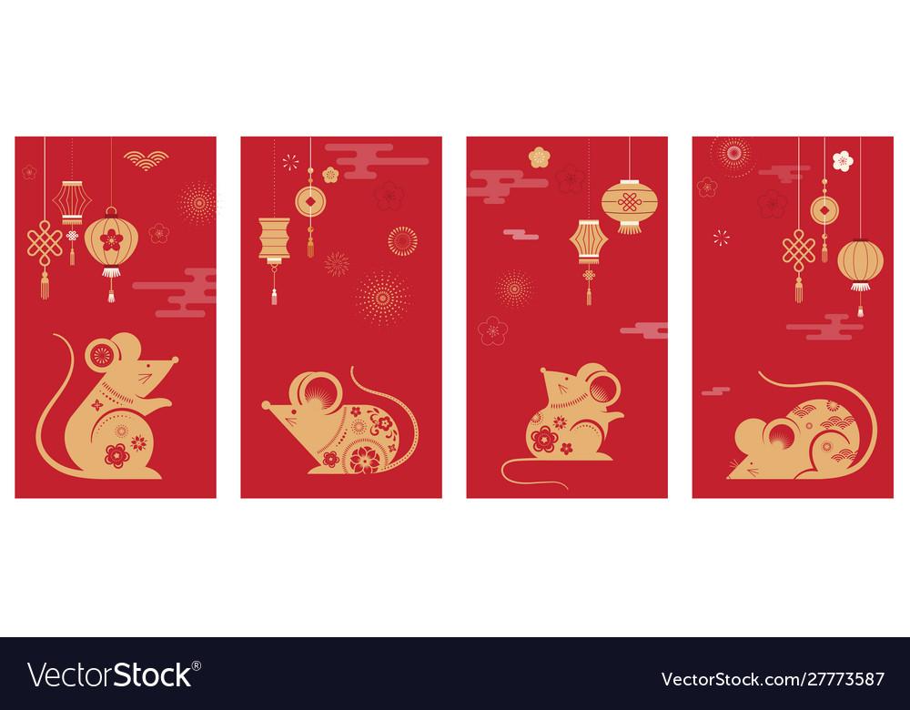 Happy chinese new year design 2020 rat zodiac