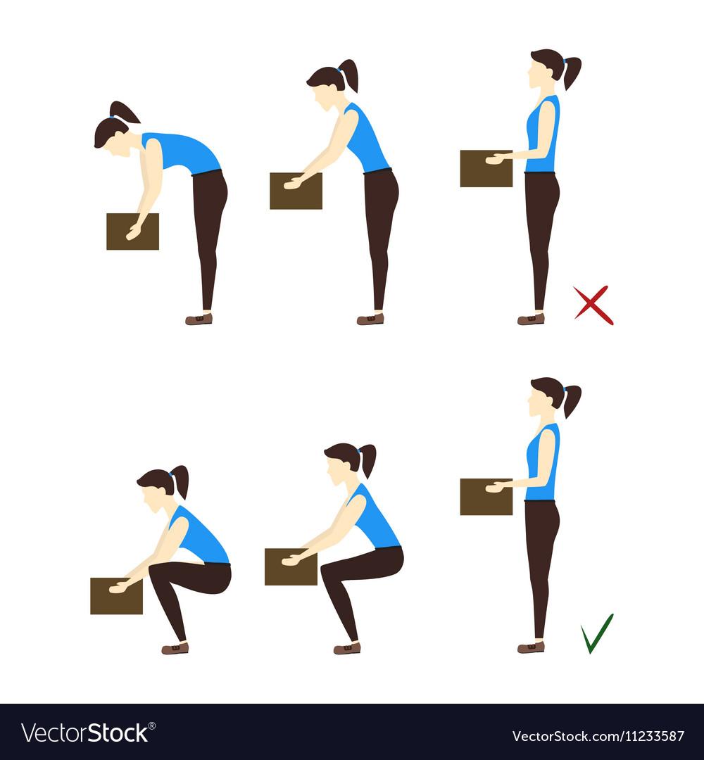 Lifting Box Correct and Incorrect Position vector image