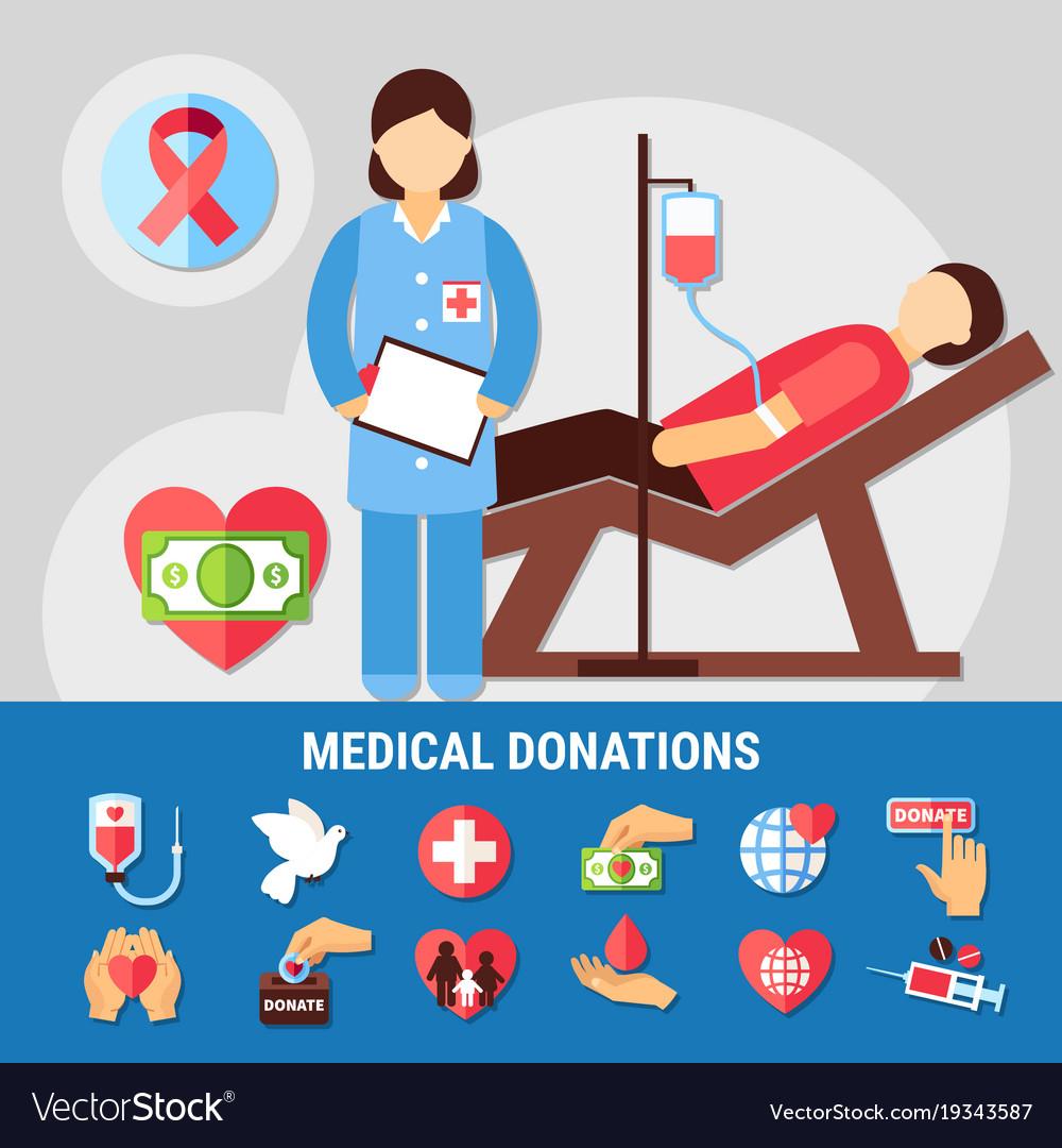 Medical donations icon set