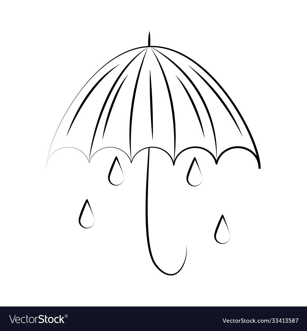 Minimalist tattoo boho umbrella rain drops line