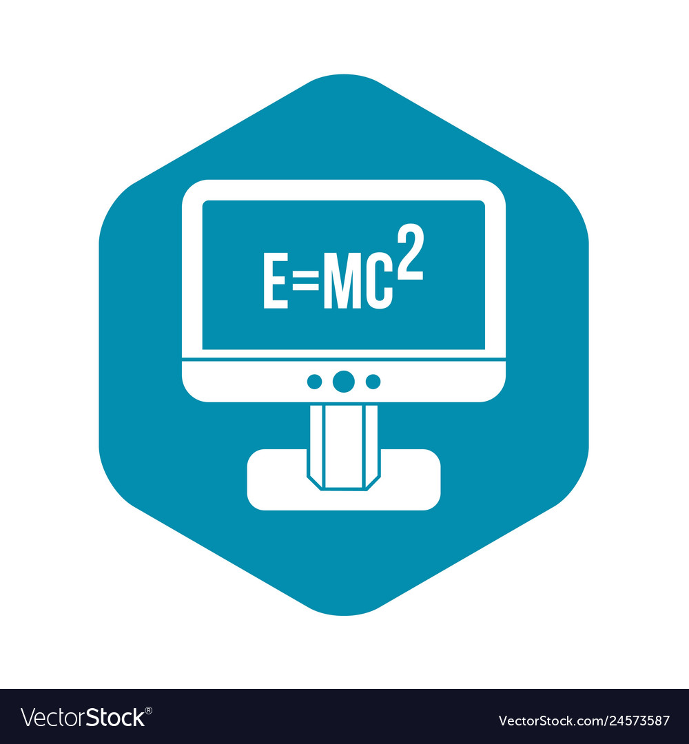 Monitor with einstein formula icon simple style