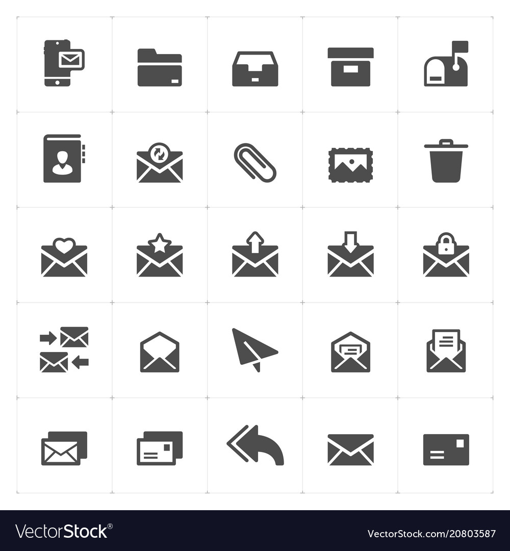 N set - mail and letter solid icon style