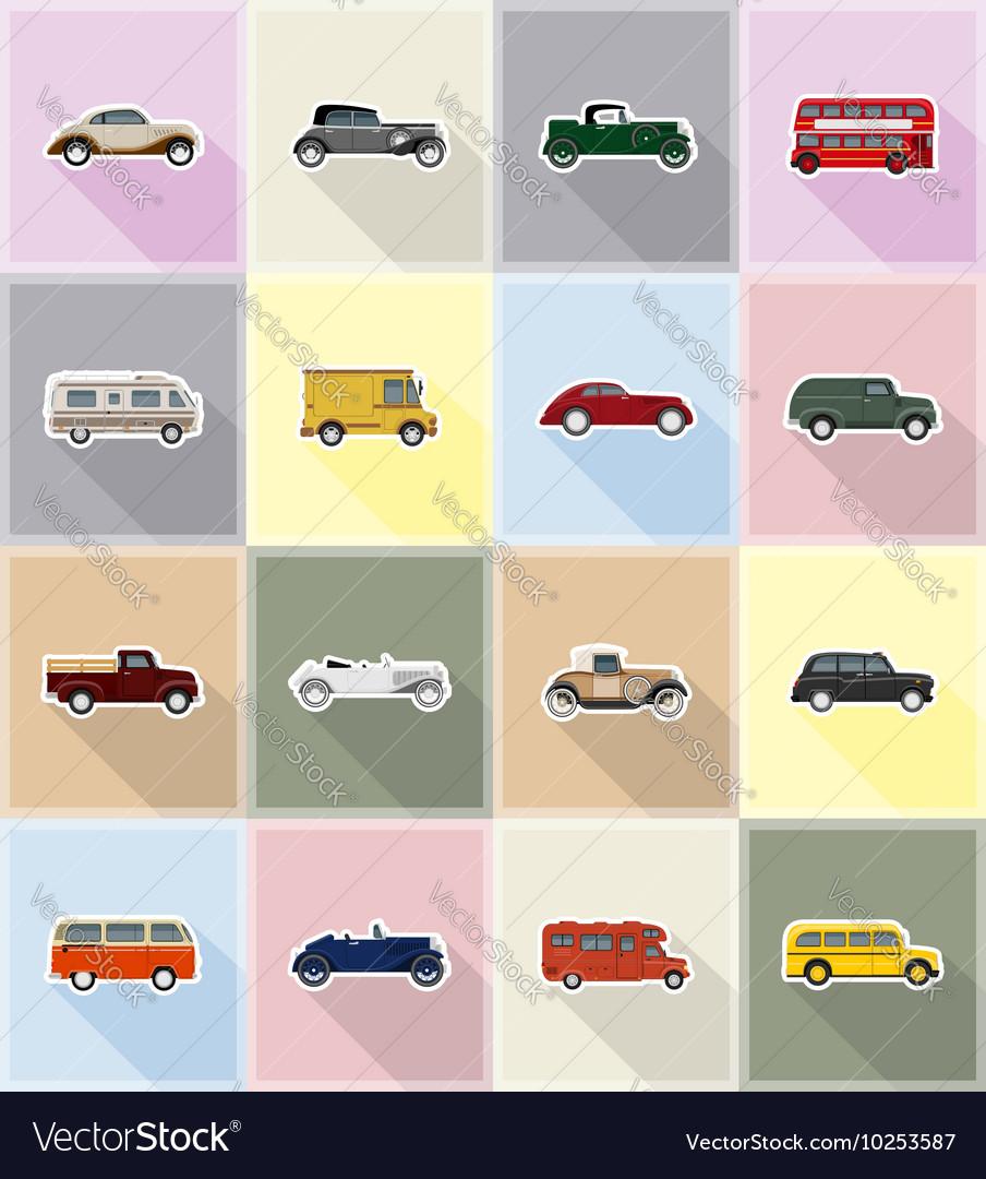 Old retro transport flat icons 18