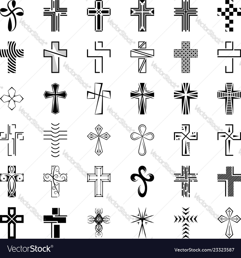 Set icons cross black christian cross