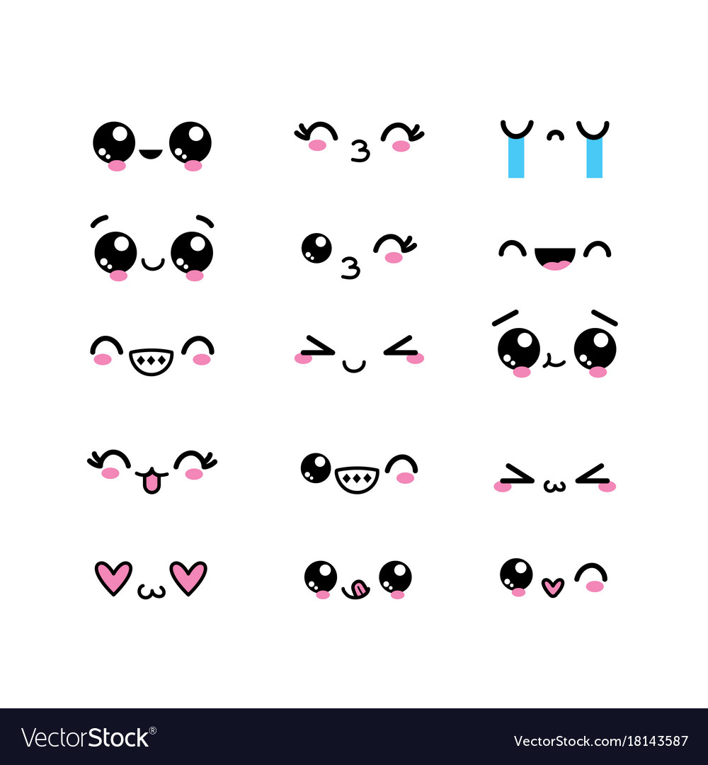 Set kawaii faces character with expression design vector image - Emoticone kawaii ...