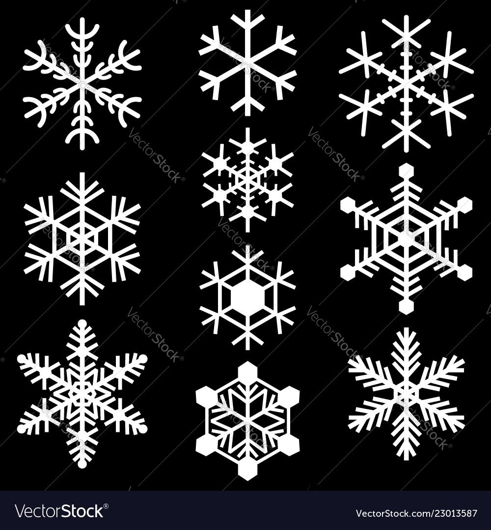 Snowflakes symbols icons signs simple white set