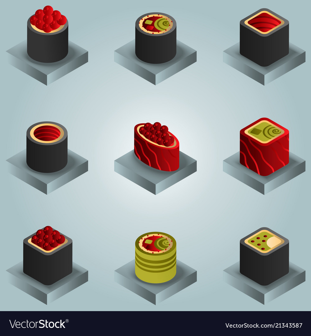 Sushi color gradient isomeric icons