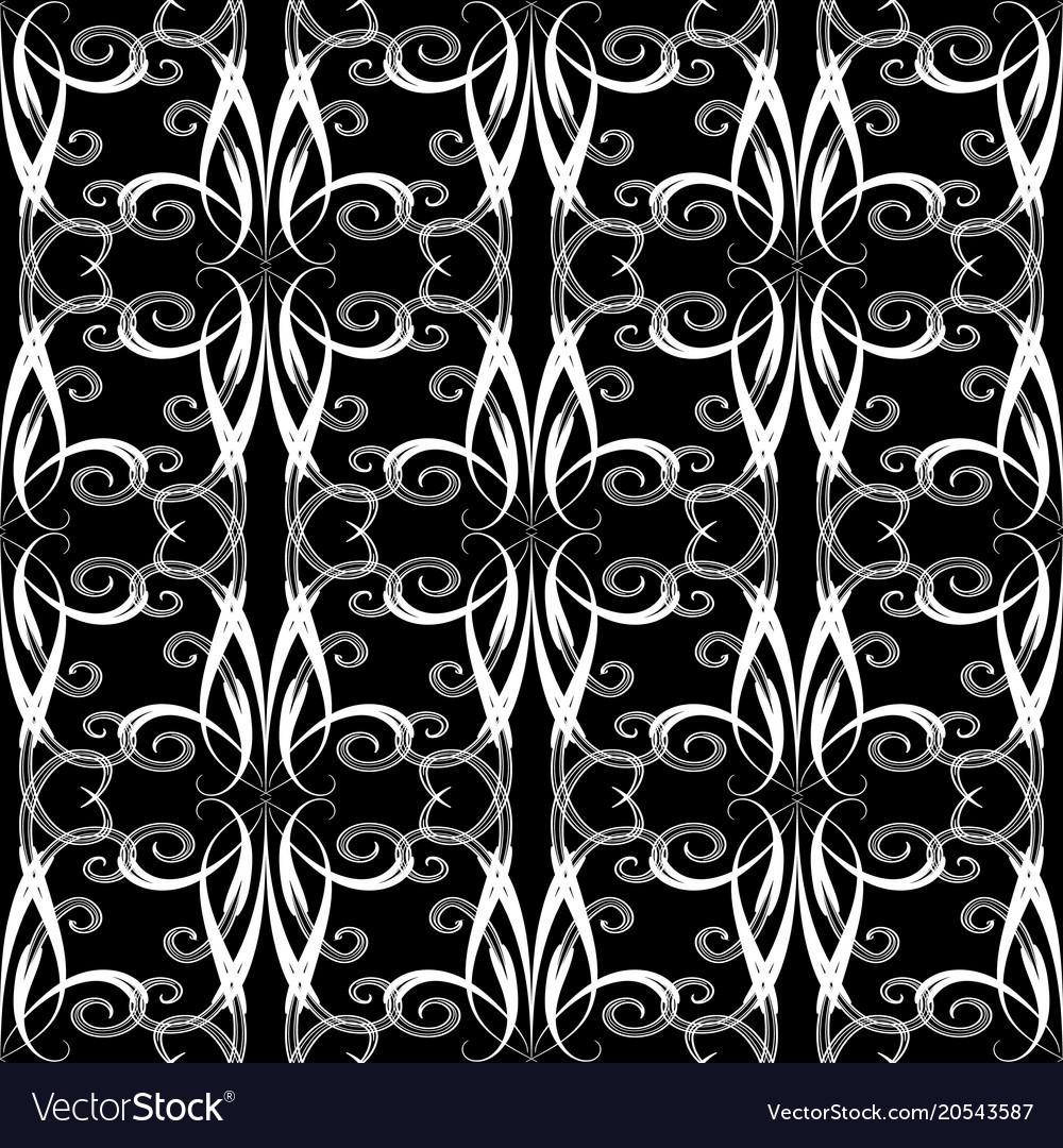 Vintage swirls seamless pattern floral black and