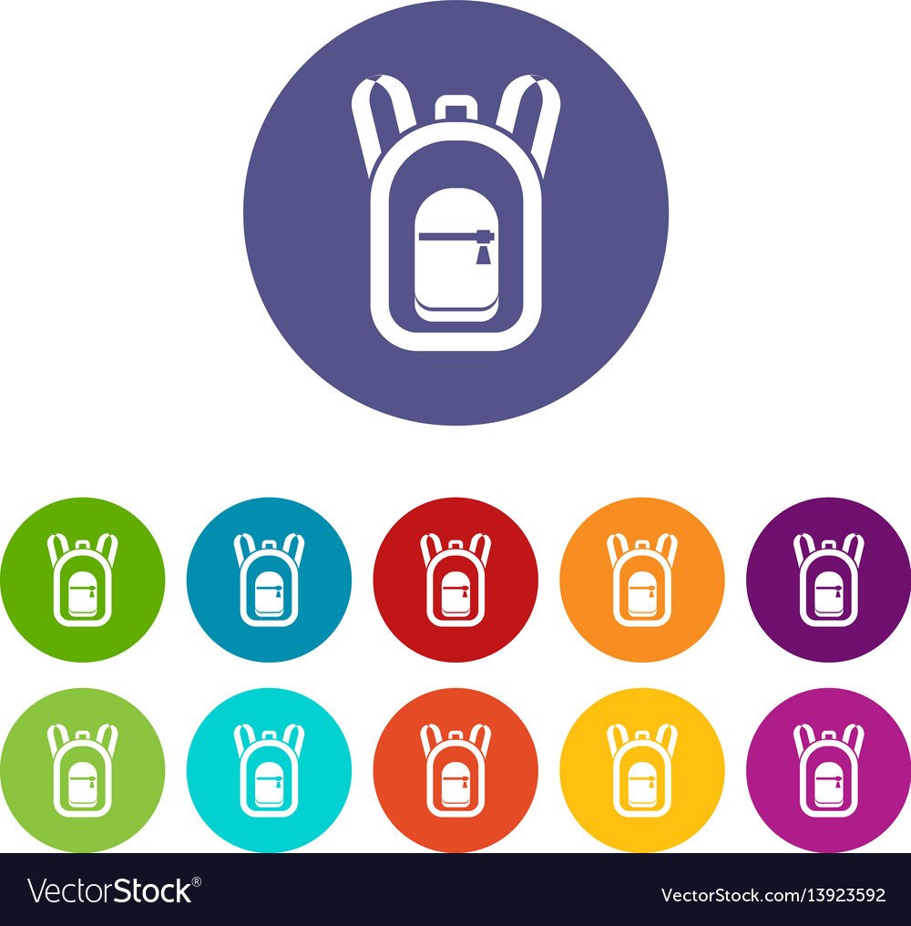 Backpack set icons vector image